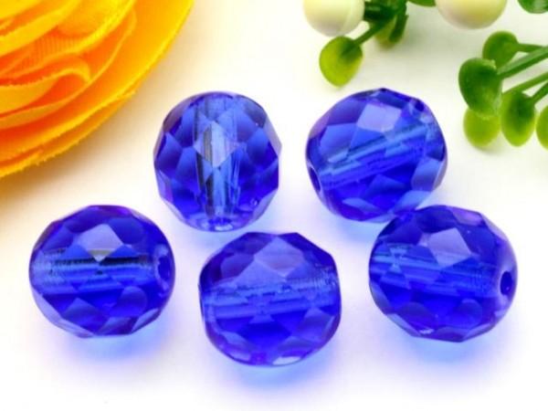 10 Glasschliffperlen sapphire blau 10 mm
