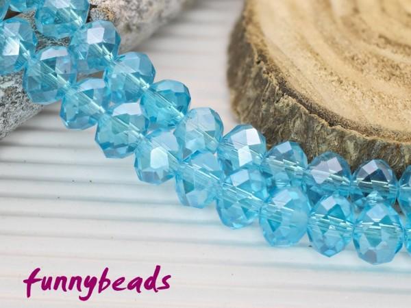 10 Glasschliffperlen Rondelle himmelblau Perlglanz 8 x 6 mm