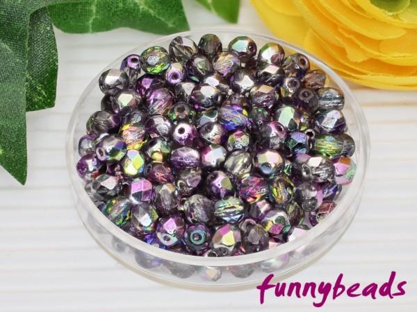 100 Glasschliffperlen vitral purple crystal 4 mm