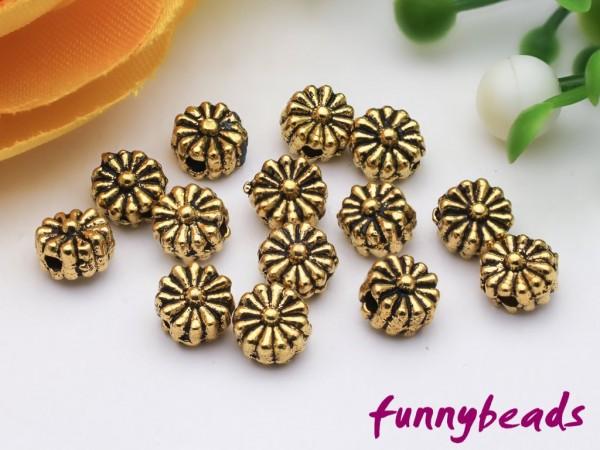 50 Spacer Blume goldfarben 5 mm