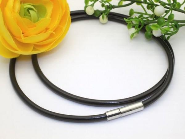 1 Kautschukband Halsband schwarz 4 mm mit Steckverschluss