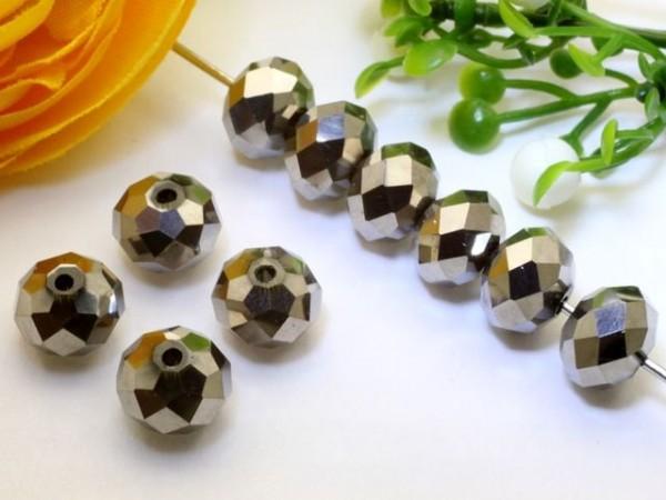 10 Glasschliffperlen Rondelle silber metallic 8 x 6 mm