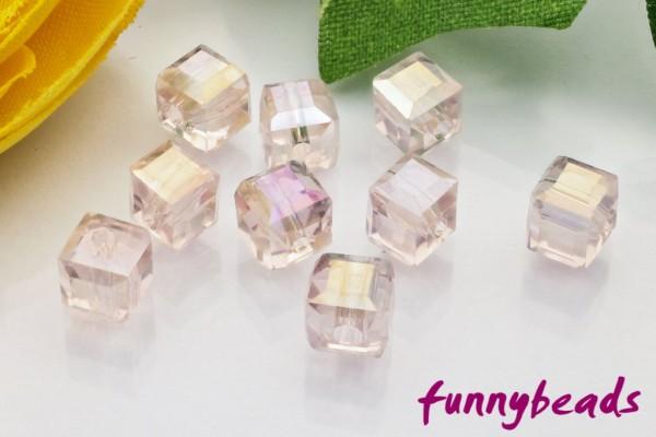 30 Glaswürfel facettiert light rose AB 4 x 4 mm