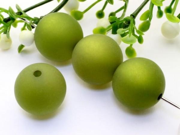 Polarisperle 16 mm rund olivgrün