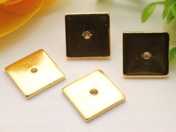 1 Spacer Quadrat Metall flach goldfarben 8 x 8 mm