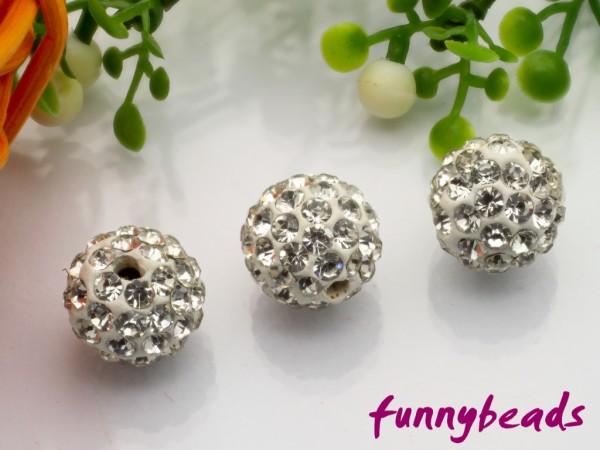 Shamballa Perle 10 mm kristall