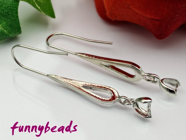 2 Ohrhänger mit Collierschlaufe platin