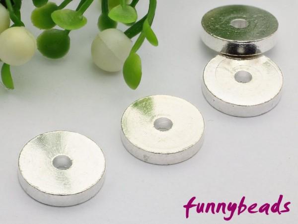 1 Scheibe Metall silberfarben 10 x 2 mm