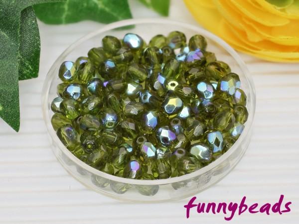 100 Glasschliffperlen dark olivine AB 4 mm