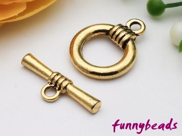Knebelverschluss altgold Ring 2-teilig