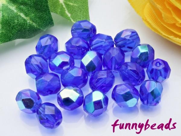 50 Glasschliffperlen sapphire AB 6 mm