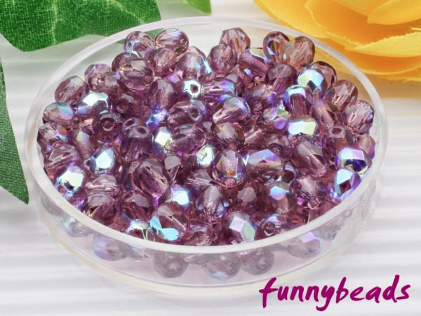 100 Glasschliffperlen amethyst AB 4 mm