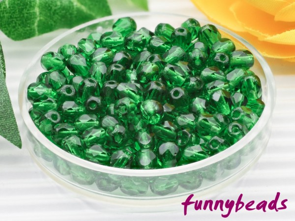 100 Glasschliffperlen green emerald 4 mm