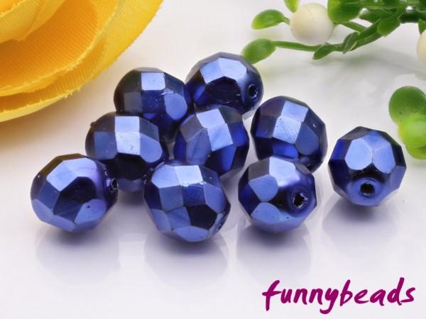 20 Glasschliffperlen royal blue coated 8 mm