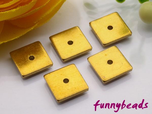 1 Spacer Quadrat Metall flach antik goldfarben 8 x 8 mm
