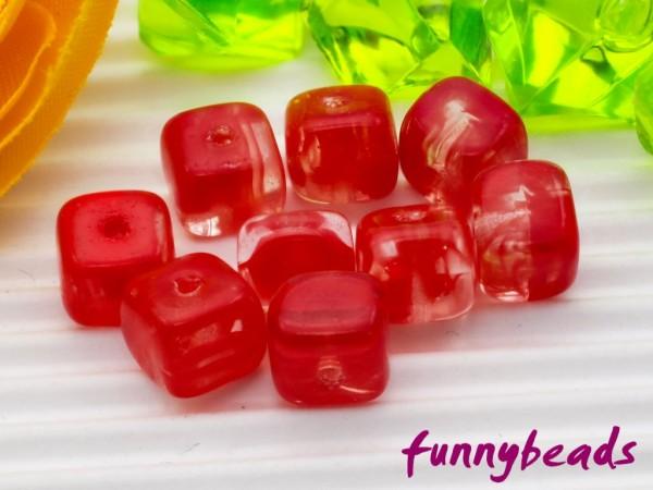 30 Glaswürfel rot kristall 6 mm