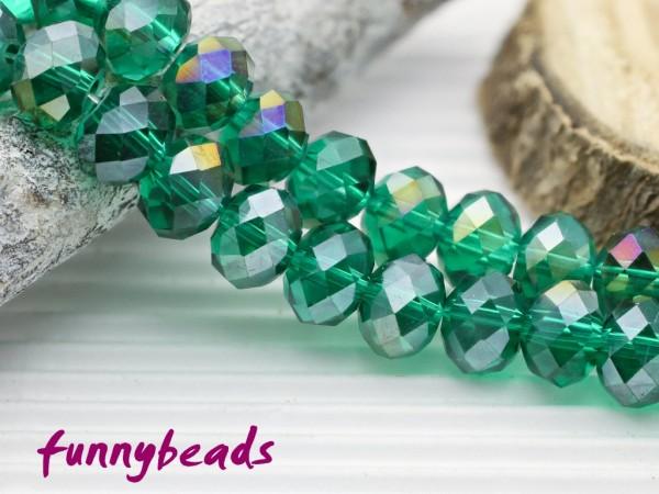 10 Glasschliffperlen Rondelle grün AB 8 x 6 mm