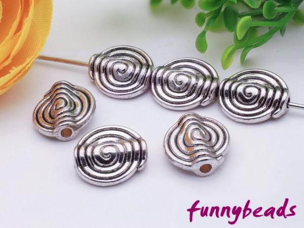10 Metallperlen Schnecke platinfarben 11 mm