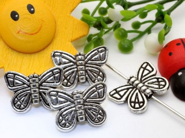 5 Metallperlen Schmetterlinge platin 15 mm