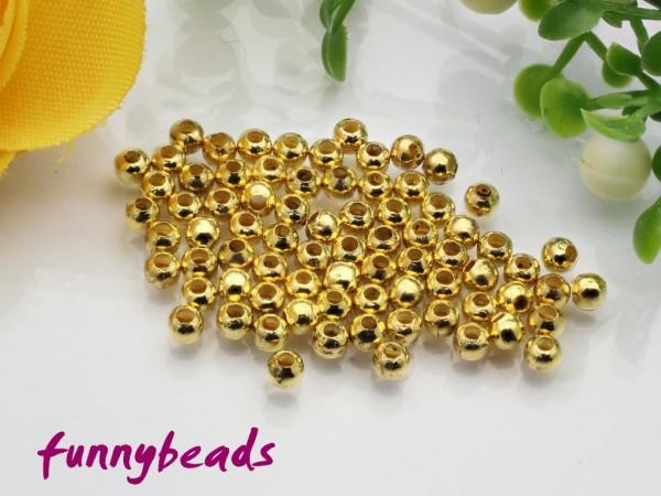 80 Metallperlen hohl goldfarben 2,4 mm