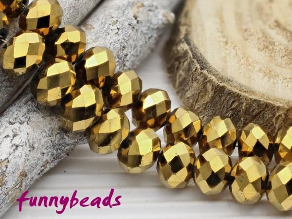 10 Glasschliffperlen Rondelle gold metallic 8 x 6 mm