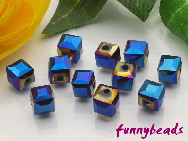 20 Glaswürfel facettiert electroplated blue 6 x 6 mm