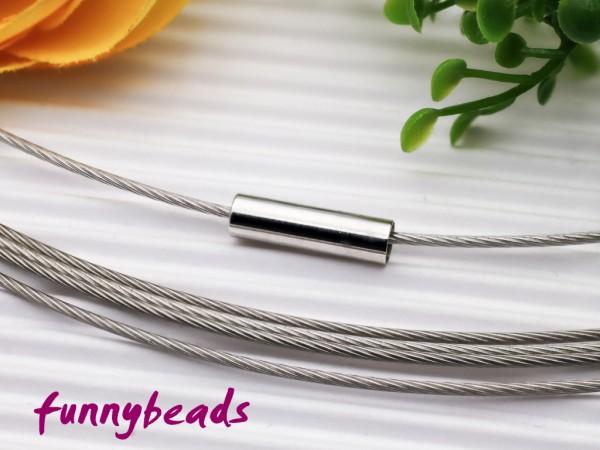 1 Halsreifen Edelstahl mit Magnetverschluss silberfarben 1 mm