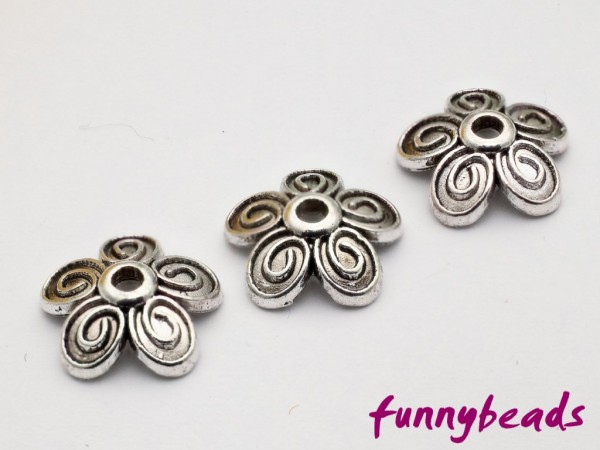 Perlenkappe Blüte antiksilber 10 mm