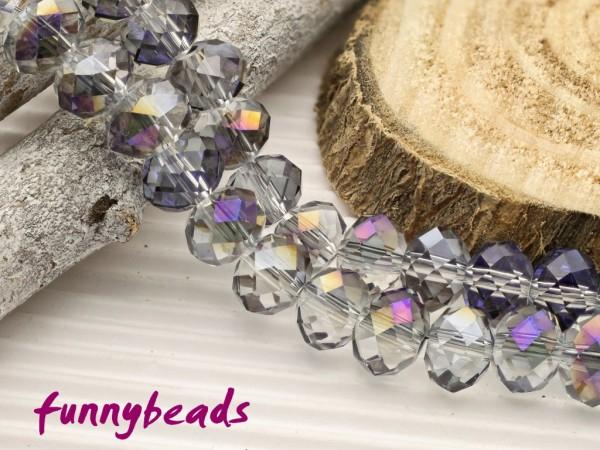 10 Glasschliffperlen Rondelle kristall lila metallic 8 x 6 mm