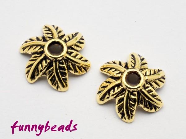 Perlenkappe Blatt antikgolden 11 mm