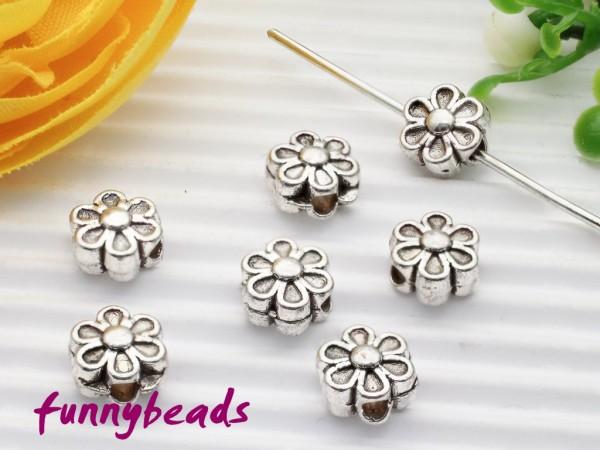 20 Metallperlen Spacer Blume antik-silberfarben 6 mm