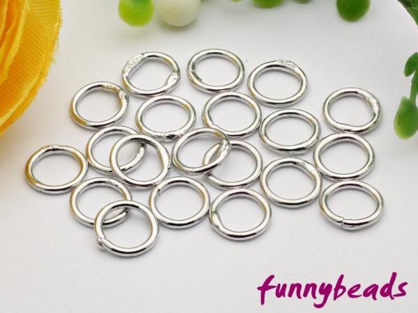 20 Ringe geschlossen gelötet platinfarben 6 mm