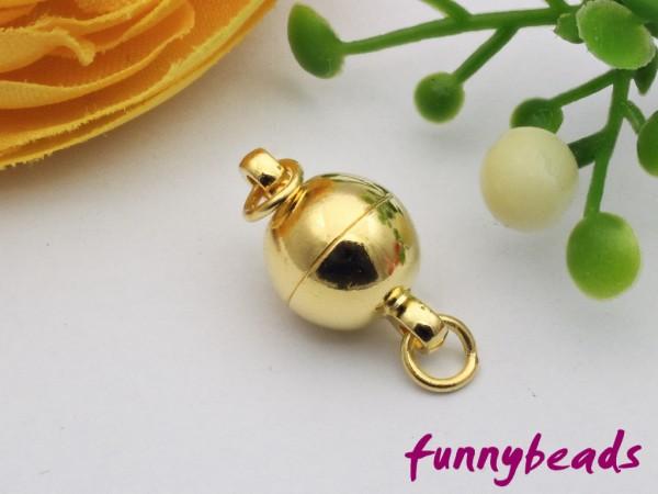 Magnetverschluss Kugel goldfarben 8 mm mit Ringen