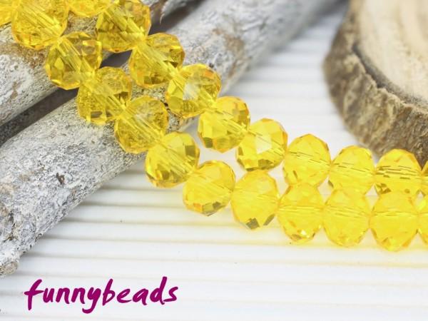10 Glasschliffperlen Rondelle gelb 8 x 6 mm