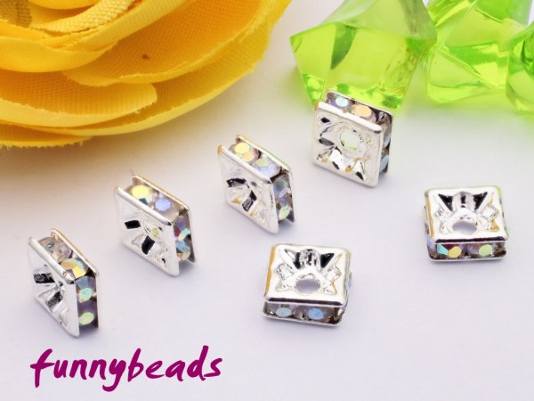 Strassquadrat silber crystal AB 6 x 6 mm