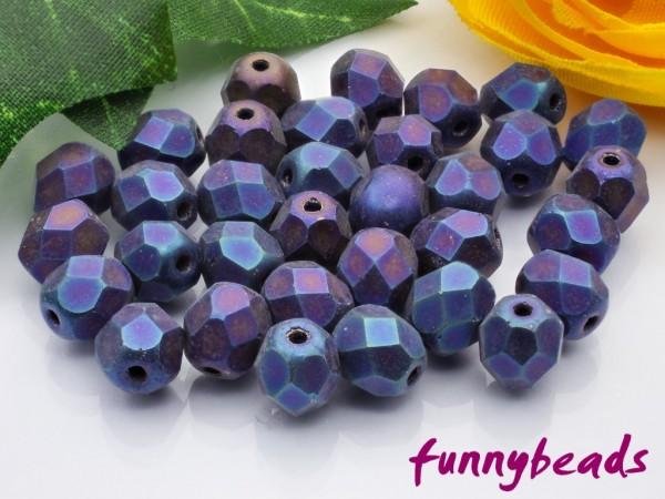 50 Glasschliffperlen matte iris blue 6 mm
