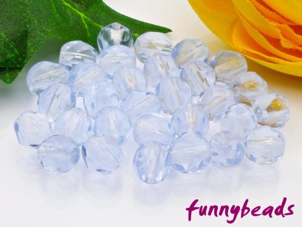 50 Glasschliffperlen light sapphire 6 mm