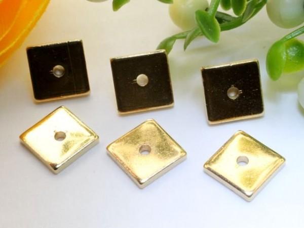 1 Spacer Quadrat Metall flach goldfarben 6 x 6 mm