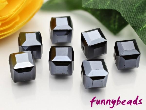 10 Glaswürfel facettiert black hematite 8 x 8 mm