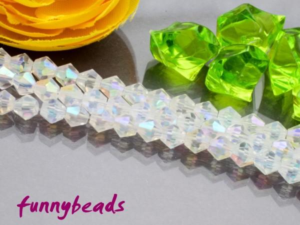 1 Strang Glasschliffperlen Bicone 4 mm kristallweiß AB