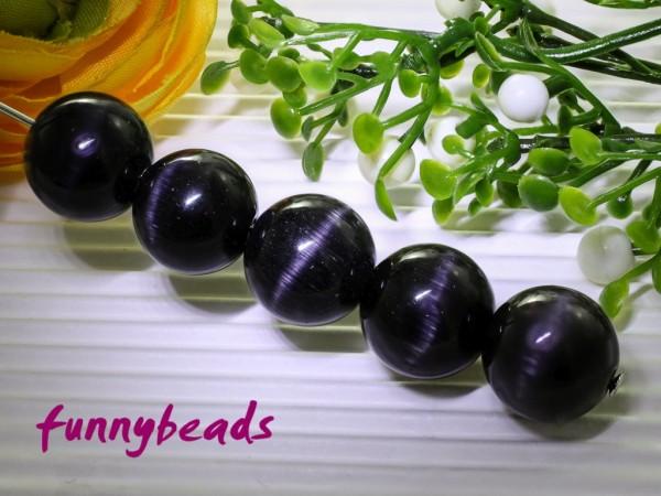 10 Cateyeperlen schwarz 12 mm
