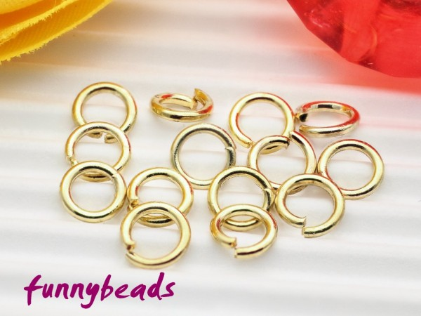 100 Biegeringe / Spaltringe goldfarben 6 mm