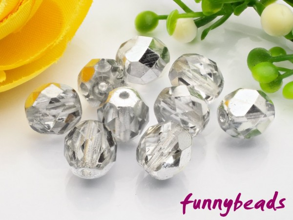 20 Glasschliffperlen crystal 1/2 coated silver 8 mm