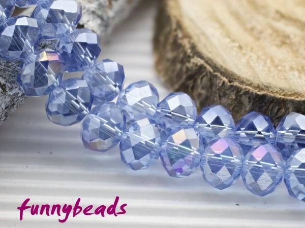 10 Glasschliffperlen Rondelle light sapphire AB 8 x 6 mm