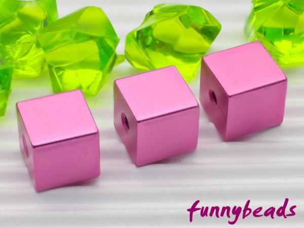 Aluminiumwürfel rosa 8 mm