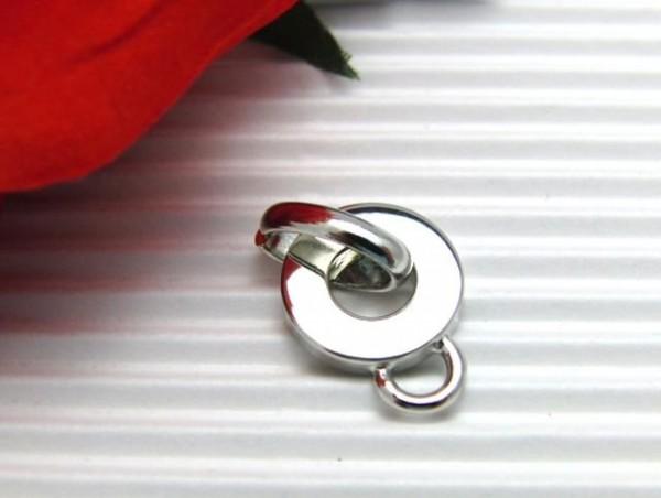 Metall Anhänger rund mit Öse silberfarben 15 mm