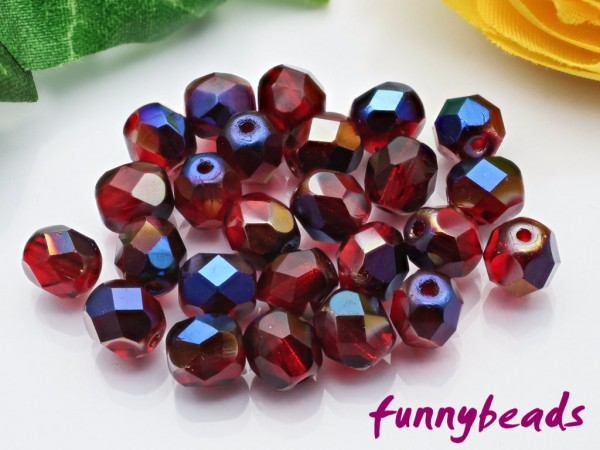 50 Glasschliffperlen blue iris siam ruby 6 mm