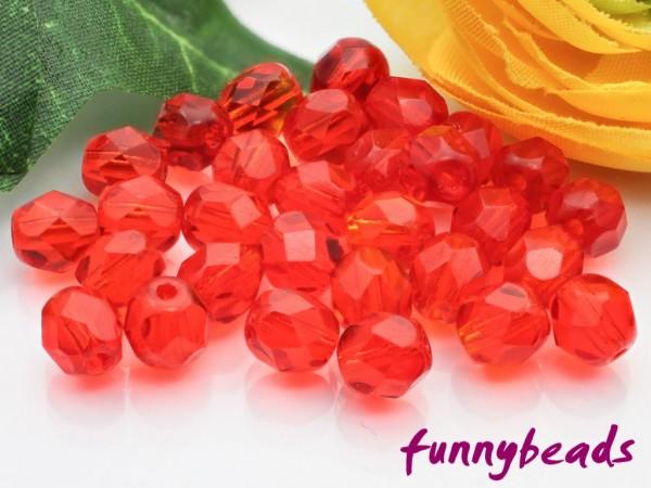 50 Glasschliffperlen light siam ruby 6 mm