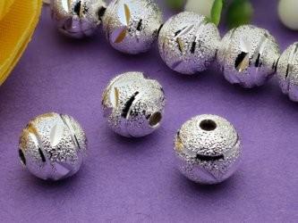 10 Metallperlen 8 mm silberfarben gemustert
