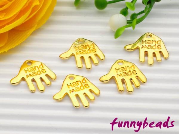 """10 Anhänger Hand """"Handmade"""" gold"""